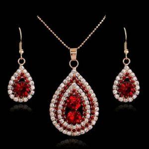 Rose Red Rhimstone earring drop